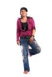 Jong meisje in jeans Stock Foto
