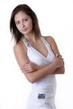 Jong meisje in manierwit Royalty-vrije Stock Foto