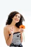 Jong meisje met bloem stock fotografie