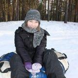 Jong meisje met buizenstelsel royalty-vrije stock foto