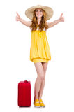 Jong meisje met de duimen omhoog geïsoleerd van het reisgeval Royalty-vrije Stock Afbeeldingen