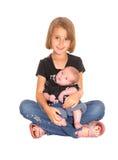 Jong meisje met drie weken oude baby Royalty-vrije Stock Foto