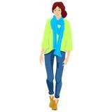 Jong meisje met een blauwe sjaal Royalty-vrije Stock Fotografie