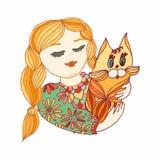 Jong meisje met een kat Gele, groene en rode vector decoratieve I Royalty-vrije Stock Fotografie