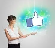 Jong meisje met gelijkaardige sociale media illustratie royalty-vrije stock fotografie