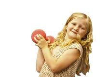 Jong meisje met gewichten Stock Afbeelding