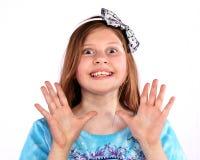 Jong meisje met grote grote glimlach Stock Foto's