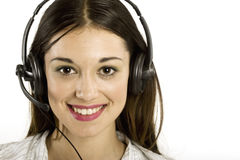 Jong meisje met hoofdtelefoon Stock Foto