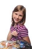 Jong Meisje met kleurrijk palet stock fotografie