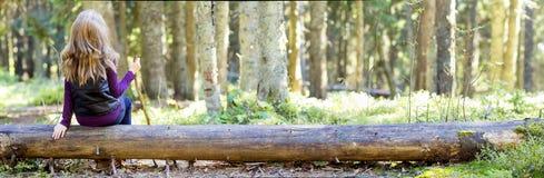 Jong meisje met lange haarzitting op een boomlogin de herfstbos Stock Foto's