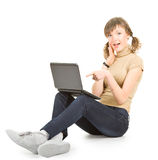 Jong meisje met laptop Royalty-vrije Stock Foto's