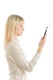Jong meisje met mobiel Stock Foto