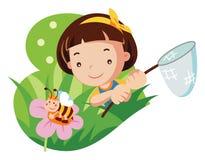 Jong meisje met netto vlinder stock illustratie