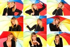 Jong meisje met paraplu Stock Afbeelding
