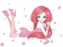 Jong meisje met roze parels Stock Afbeelding