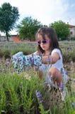Jong meisje met sunglases en lavendel Stock Afbeeldingen