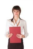Jong meisje met tablet voor documenten Stock Fotografie