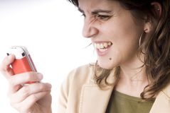 Jong meisje met telefoon Royalty-vrije Stock Fotografie