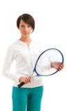 Jong meisje met tennisracket en geïsoleerdn bal Stock Fotografie