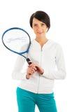 Jong meisje met tennisracket en geïsoleerdu bal Stock Afbeeldingen