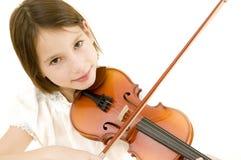 Jong meisje met viool Stock Foto