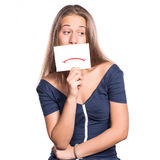 Jong meisje met whiteboard droevig gezicht Stock Afbeelding