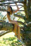 Jong meisje op boomtak royalty-vrije stock fotografie
