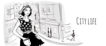 Jong meisje op de straat van oude stad Vectorportretillustratie in schetsstijl vector illustratie