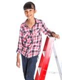 Jong Meisje op een Ladder IV stock afbeeldingen