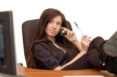Jong meisje op kantoor Stock Afbeelding
