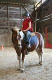 Jong meisje op poney Stock Afbeelding