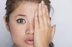 Jong meisje - schoonheidsgelaatsuitdrukking Stock Afbeelding