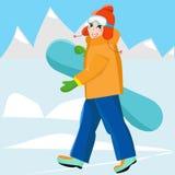 Jong meisje snowboarder met snowboard in de handen leisure De sport van de winter Vakantie in de bergen stock illustratie