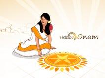 Jong meisje voor Zuiden Indisch festival, Onam royalty-vrije illustratie