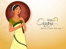 Jong meisje voor Zuiden Indisch festival, Onam vector illustratie