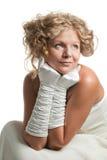 Jong meisje in witte handschoenen Stock Foto