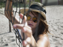 Jong meisje in zonnebril Royalty-vrije Stock Foto