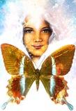 Jong meisjes engelachtig gezicht en een vlinder Structuur en kleurencol. stock illustratie