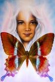 Jong meisjes engelachtig gezicht en een vlinder Structuur en kleurencollageart. vector illustratie
