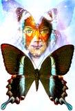 Jong meisjes engelachtig gezicht en een vlinder Structuur en kleurencollageart. royalty-vrije illustratie