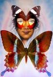 Jong meisjes engelachtig gezicht en een vlinder Structuur en kleurencollageart. stock illustratie