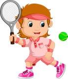 Jong meisjes speeltennis met een racket Stock Afbeeldingen