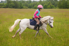 Jong meisjes zeker galopperend paard op het gebied Stock Foto
