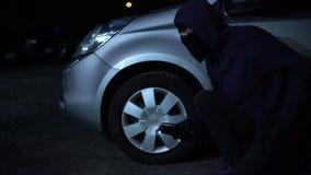 Jong misdadig nemend autowiel weg bij nacht, hooligan schadelijk bezit stock footage