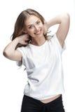 Jong mooi brunette womantouches haar haar Stock Afbeeldingen