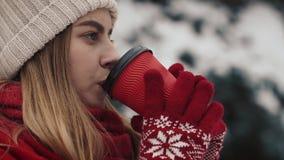 Jong mooi meisje binnen in warme kleren die zich dichtbij de Kerstbomen in sneeuw bevinden die hete drank van het document drinke stock footage