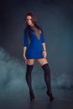 Jong mooi meisje in een blauwe kleding stock afbeelding