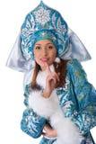 Jong mooi meisje in het kostuum van het Meisje van de Sneeuw Royalty-vrije Stock Afbeeldingen
