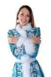 Jong mooi meisje in het kostuum van het Meisje van de Sneeuw Royalty-vrije Stock Foto's
