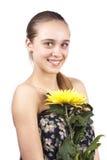 Jong mooi meisje met een geïsoleerdee bloem Royalty-vrije Stock Afbeeldingen